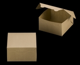 "3590 - 7"" x 7"" x 4"" Brown/Brown without Window, Lock & Tab Box With Lid. A16"