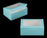 "3592 - 10"" x 7"" x 4"" Diamond Blue/White with Window, Lock & Tab Box With Lid. A21"