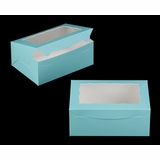 "3592 - 10"" x 7"" x 4"" Diamond Blue/White with Window, Lock & Tab Box With Lid"