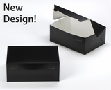 """3593 - 10"""" x 7"""" x 4"""" Black/White without Window, Lock & Tab Box With Lid"""