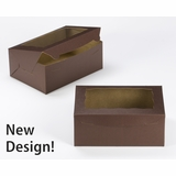 "3596 - 10"" x 7"" x 4"" Chocolate Brown/Brown with Window, Lock & Tab Box With Lid"