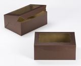 "3596 - 10"" x 7"" x 4"" Chocolate Brown/Brown with Window, Lock & Tab Box With Lid. A19"