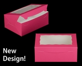 """3597 - 10"""" x 7"""" x 4"""" Pink/White with Window, Lock & Tab Box With Lid"""