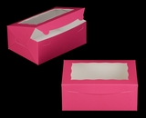 "3597 - 10"" x 7"" x 4"" Pink/White with Window, Lock & Tab Box With Lid. A20"