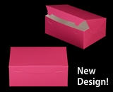 """3598 - 10"""" x 7"""" x 4"""" Pink/White without Window, Lock & Tab Box With Lid"""