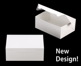 """3602 - 10"""" x 7"""" x 4"""" White/White without Window, Lock & Tab Box With Lid"""