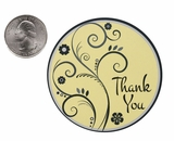 "3603 - 2 1/2"" Thank You Swirl Yellow Favor Label, 50 Count"