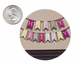 "3604 - 2 1/2"" Happy Birthday Banner Pink Favor Label, 50 Count"