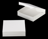 "3609 - 10"" x 10"" x 2 1/2"" White/White without Window, Lock & Tab Box With Lid. A23"