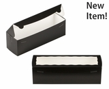 "3646 - 13"" x 4"" x 4"" Black/White with Window, One Piece Lock & Tab Box With Lid"