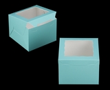 "3650 - 8"" x 8"" x 6"" Diamond Blue/White with Window, Lock & Tab Box With Lid"