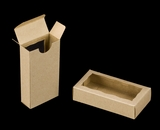 "3658 - 4 5/16"" x 2 1/4"" x 1"" Brown/Brown, Double Favor Box with window"