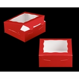 """3660 - 6"""" x 6"""" x 2 1/2"""" Red/White with Window, Lock & Tab Box With Lid"""