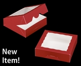 "3661 - 9"" x 9"" x 2 1/2"" Red/White with Window, Timesaver Box With Lid"