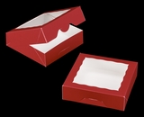 "3661 - 9"" x 9"" x 2 1/2"" Red/White with Window, Timesaver Box With Lid. A20"