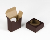 "3662 - 2 1/4"" x 2 1/4"" x 1"" Chocolate/Brown, Favor Box with window"