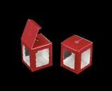 "3665 - 1 3/4"" x 1 3/4"" x 2"" Red/White Single Cake Pop Box"