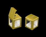 "3666 - 1 3/4"" x 1 3/4"" x 2"" Gold/White Single Cake Pop Box"
