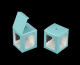 "3667 - 1 3/4"" x 1 3/4"" x 2"" Diamond Blue/White Single Cake Pop Box. B02"