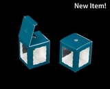 "3669 - 1 3/4"" x 1 3/4"" x 2"" Teal/White Single Cake Pop Box"