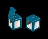 "3670 - 1 3/4"" x 1 3/4"" x 2"" Teal/White Single Cake Pop Box. B02"
