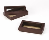 "3673x3674 - 7"" x 4 1/2"" x 1 1/4"" Chocolate/Brown Two Piece Simplex Box Set, with Window. B05xB04"