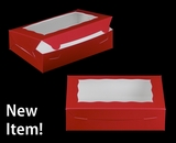 "3685 - 10"" x 7"" x 2 1/2"" Red/White with Window, Lock & Tab Box With Lid. A15"