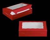 "3685 - 10"" x 7"" x 2 1/2"" Red/White with Window, Lock & Tab Box With Lid. A16"