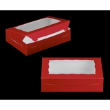 """3685 - 10"""" x 7"""" x 2 1/2"""" Red/White with Window, Lock & Tab Box With Lid"""