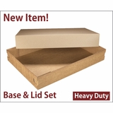 "3690x3705 - 26"" x 18"" x 4"" Brown/Brown Lock & Tab Corrugated Base, Paperboard Lid Set without Window, 25 COUNT"