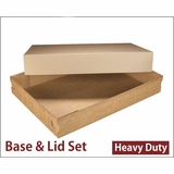 "3690x3705 - 26"" x 18"" x 4"" Brown/Brown Lock & Tab Corrugated Base, Paperboard Lid without Window Set, 25 COUNT"