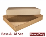 "3690x3705 - 26"" x 18"" x 4"" Brown/Brown Lock & Tab Corrugated Base, Paperboard Lid without Window Set, 25 COUNT. A25xA16"