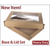 "3690x3884 - 26"" x 18"" x 4"" Brown/Brown Lock & Tab Corrugated Base, Paperboard Lid Set with Window, 25 COUNT"