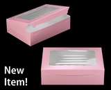 "3692 - 14"" x 10"" x 4"" Light Pink/White with Window, Lock & Tab Box With Lid. A32"