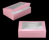 "3692 - 14"" x 10"" x 4"" Light Pink/White with Window, Lock & Tab Box With Lid. A33"