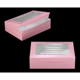 "3692 - 14"" x 10"" x 4"" Light Pink/White with Window, Lock & Tab Box With Lid"