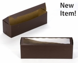 "3693 - 13"" x 4"" x 4"" Chocolate Brown/Brown with Window, One Piece Lock & Tab Box With Lid"