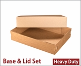 "3703x3708 - 19"" x 14"" x 4"" Brown/Brown Lock & Tab Corrugated Base, Paperboard Lid Set without Window, 50 COUNT"