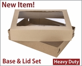 "3703x3710 - 19"" x 14"" x 4"" Brown/Brown Lock & Tab Corrugated Base, Paperboard Lid with Window Set, 50 COUNT. A32xA14"