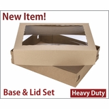 "3703x3710 - 19"" x 14"" x 4"" Brown/Brown Lock & Tab Corrugated Base, Paperboard Lid Set with Window, 50 COUNT"