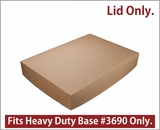 "3705 - 26"" x 18"" x 4"" Brown/Brown Lock & Tab Paperboard Lid Only, 25 COUNT"