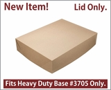 "3708 - 19"" x 14"" x 4"" Brown/Brown Lock & Tab Paperboard Lid Only, 50 COUNT"