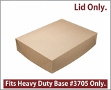 "3708 - 19"" x 14"" x 4"" Brown/Brown Lock & Tab Half Sheet Cake Box, Paperboard Lid Only, 50 COUNT"