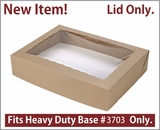 "3710 - 19"" x 14"" x 4"" Brown/Brown Lock & Tab Half Sheet Cake Box, Paperboard Lid Only, 50 COUNT"