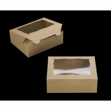 """3720 - 7"""" x 5 1/2"""" x 2 1/2"""" Brown/Brown with Window, Lock & Tab Box with Lid"""