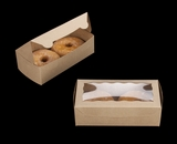 "3721 - 8"" x 4"" x 2 1/2"" Brown/Brown Lock & Tab Pastry Box with Window"