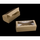 """3721 - 8"""" x 4"""" x 2 1/2"""" Brown/Brown with Window, One Piece Lock & Tab Box With Lid"""