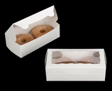 "3722 - 8"" x 4"" x 2 1/2"" White/White Lock & Tab Donut Box with Window"