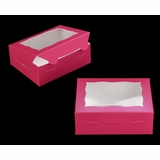 """3725 - 7"""" x 5 1/2"""" x 2 1/2"""" Pink/White with Window, Lock & Tab Box with Lid"""