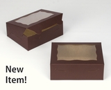 "3726 - 7"" x 5 1/2"" x 2 1/2"" Chocolate/Brown with Window, Lock & Tab Box with Lid"